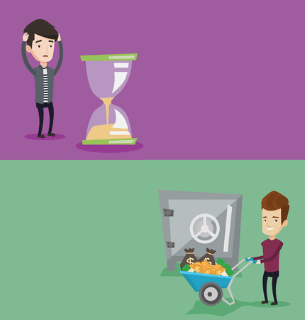 worrying: Two business banners with space for text. Vector flat design. Horizontal layout. Desperate businessman looking at hourglass. Businessman worrying about deadline term. Time management, deadline concept Illustration
