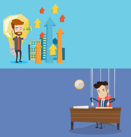 puppeteer: Two business banners with space for text. Vector flat design. Horizontal layout. Businessman marionette hanging on strings like a puppet. Businessman marionette on ropes sitting at the table in office