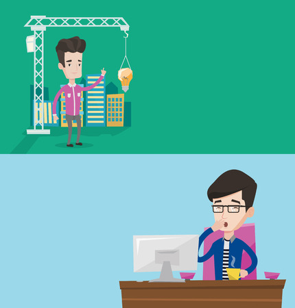 building site: Two business banners with space for text. Vector flat design. Horizontal layout. Sleepy tired businessman yawning while working in office. Exhausted businessman yawning and drinking coffee at work. Illustration
