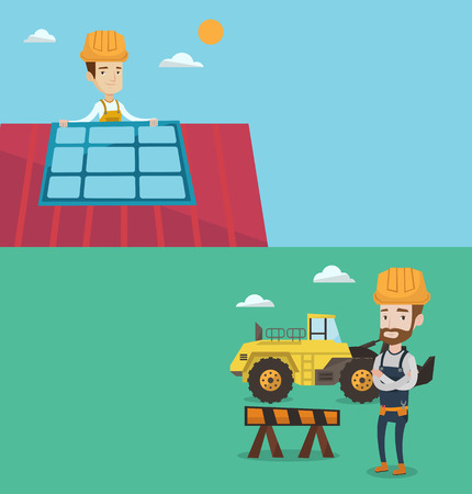 Two construction banners with space for text. Vector flat design. Horizontal layout. Man installing solar panels on roof. Technician checking solar panels on roof. Eengineer adjusting solar panels. Banco de Imagens - 68482320