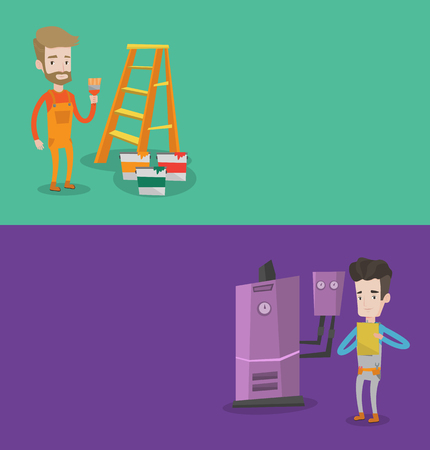 boiler room: Two construction banners with space for text. Vector flat design. Horizontal layout. Caucasian plumber making some notes in his clipboard. Young plumber inspecting heating system in boiler room.