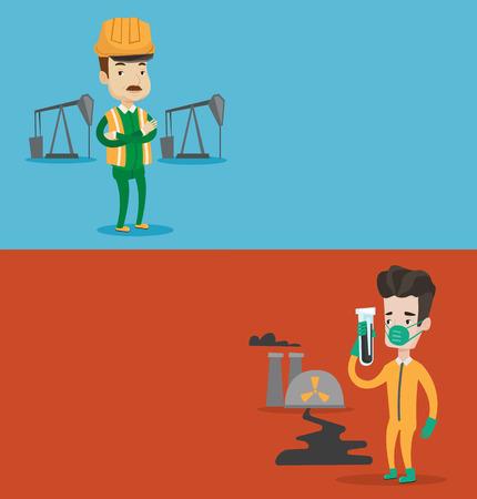 trabajador petroleros: Dos banderas de la ecología con el espacio para el texto. Vector de diseño plano. disposición horizontal. Aceite de los trabajadores en uniforme y casco. Aceite de los trabajadores de pie con los brazos cruzados. Aceite de los trabajadores de pie en el fondo del gato de la bomba.