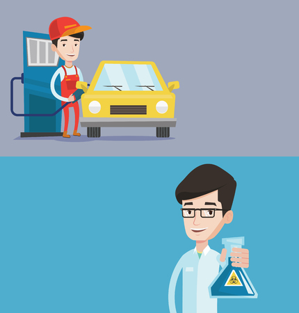 Two ecology banners with space for text. Vector flat design. Horizontal layout. Friendly worker filling up fuel into the car. Worker in workwear at the gas station. Gas station worker refueling a car. Illustration