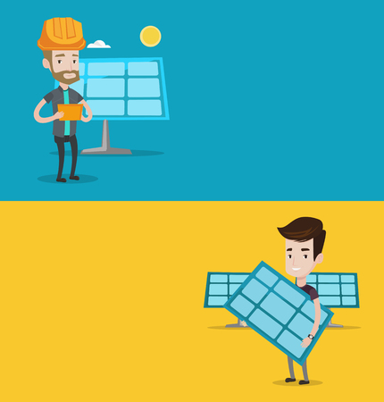 solar power: Two ecology banners with space for text. Vector flat design. Horizontal layout. Man working on digital tablet at solar power plant. Man with solar panel standing on the background of solar power plant Illustration