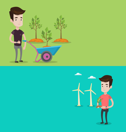 Two ecology banners with space for text. Vector flat design. Horizontal layout. Man pushing wheelbarrow with plant in the park. Man with wheelbarrow standing on a background of newly planted trees. Illustration