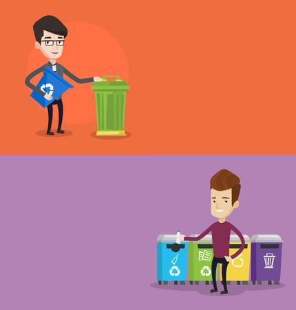 separacion de basura: Dos banderas de la ecología con el espacio para el texto. Vector de diseño plano. disposición horizontal. Hombre con papelera de reciclaje. Hombre que lanza lejos botella de plástico en el contenedor de reciclaje. Concepto de la separación de basura para su reciclaje.