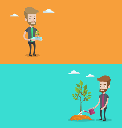 garden maintenance: Two ecology banners with space for text. Vector flat design. Horizontal layout. Man holding plastic bottle with plant growing inside. Man holding plastic bottle used as plant pot. Recycling concept.