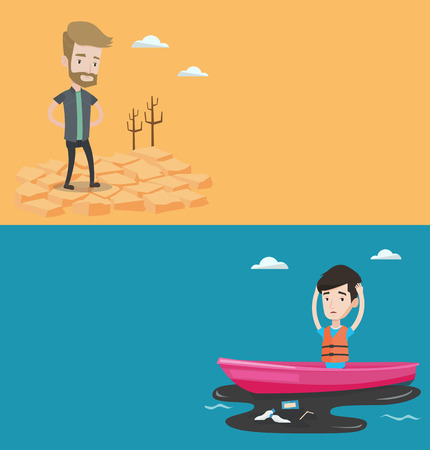 Two ecology banners with space for text. Vector flat design. Horizontal layout. Young frustrated sanitation worker working on boat to catch garbage out of polluted water. Concept of water pollution. Illustration