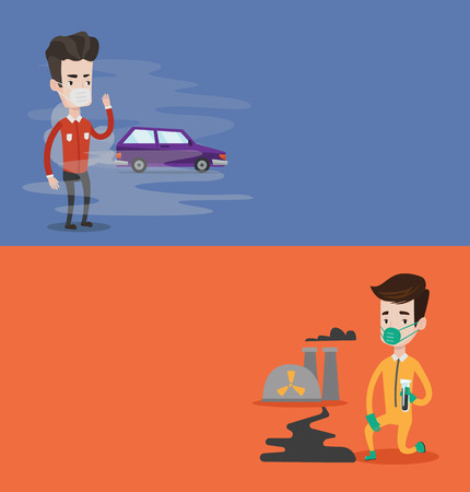 Two ecology banners with space for text. Vector flat design. Horizontal layout. Man standing on background of smoking car. Man wearing mask to reduce effect of traffic pollution. Air pollution concept