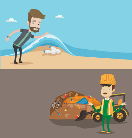 sea pollution: Two ecology banners with space for text. Vector flat design. Horizontal layout. Man showing plastic bottles in sea. Worker at rubbish dump. Environmental pollution, water pollution, plastic pollution.