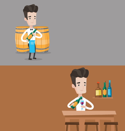 Two drinks banners with space for text. Vector flat design. Horizontal layout. Waiter holding bottle of wine. Waiter with bottle of wine standing on the background of wine barrels. Barman pouring wine