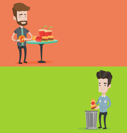 Two food banners with space for text. Vector flat design. Horizontal layout. Man putting junk food into a trash bin. Man refusing to eat junk food. Man rejecting junk food. Man throwing junk food.