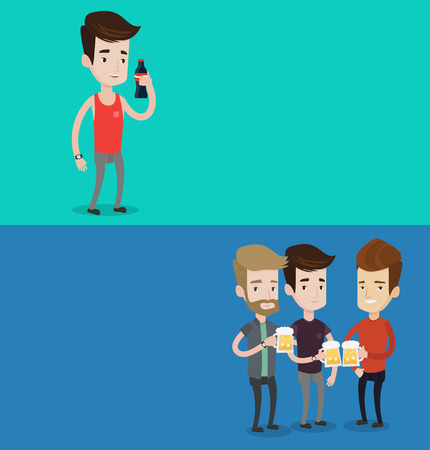 Two drinks banners with space for text. Vector flat design. Horizontal layout. Beer fans toasting and clinking glasses of beer. Group of friends enjoying a beer at pub. Young friends drinking beer.