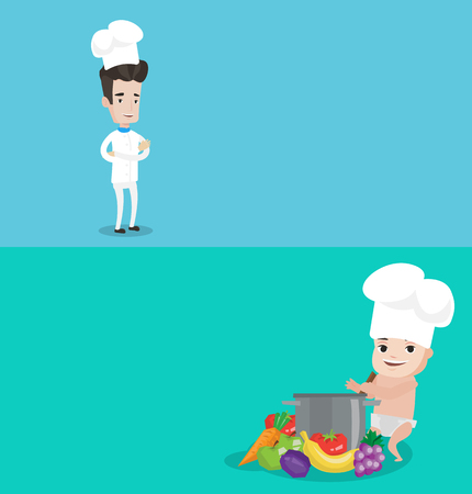 Two food banners with space for text. Vector flat design. Horizontal layout. Chief cooker in uniform and hat standing with arms crossed. Baby boy in chef hat standing near big pan with vegetables.