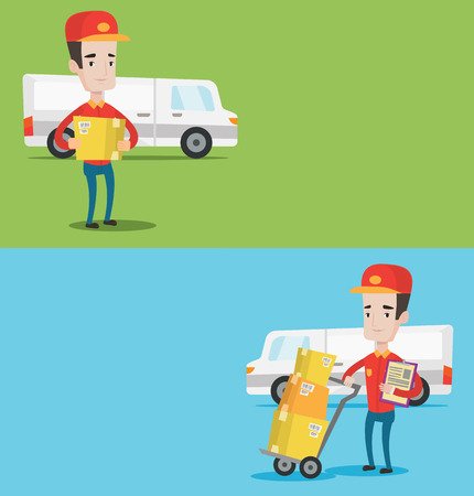 troley: Two industrial banners with space for text. Vector flat design. Horizontal layout. Delivery man with cardboard boxes on troley. Delivery man with clipboard. Delivery man standing in front of van. Illustration
