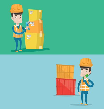 port: Two industrial banners with space for text. Vector flat design. Horizontal layout. Port worker talking on wireless radio. Port worker standing on container background. Port worker using wireless radio