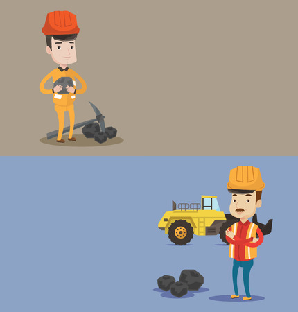 coal mine: Two industrial banners with space for text. Vector flat design. Horizontal layout. Miner in hard hat holding coal in hands. Miner with a pickaxe. Miner working at coal mine in front of a big excavator