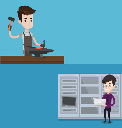 anvil: Two industrial banners with space for text. Vector flat design. Horizontal layout. Caucasian engineer with laptop working in network server room. Young network engineer using laptop in server room.