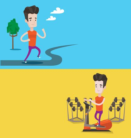 lifestyle outdoors: Two lifestyle banners with space for text. Vector flat design. Horizontal layout. Young man running outdoors. Sportsman running in the park. Caucasian man exercising on elliptical trainer in the gym.