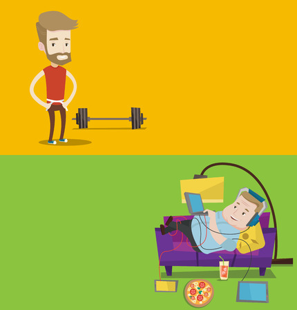 Two lifestyle banners with space for text. Vector flat design. Horizontal layout. Young man measuring his waistline with a tape. Man measuring with tape the abdomen. Happy man with tape on a waist. Ilustracja