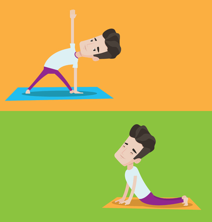 man meditating: Two lifestyle banners with space for text. Vector flat design. Horizontal layout. Young man standing in yoga triangle pose. Man meditating in yoga triangle position. Man doing yoga. Man doing yoga.