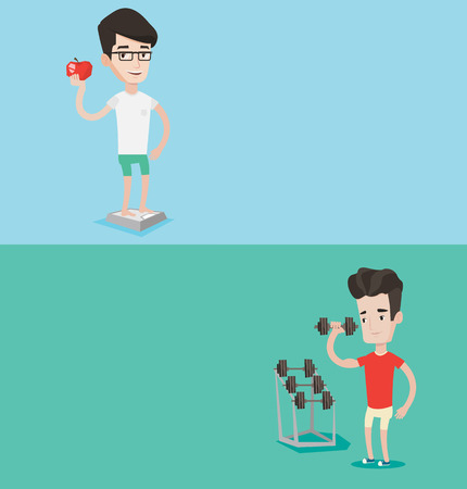 lose: Two lifestyle banners with space for text. Vector flat design. Horizontal layout. Young sporty man lifting heavy weight dumbbell. Sportsman doing exercise with dumbbell. Weightlifter holding dumbbell. Illustration