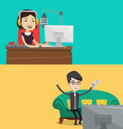 radio station: Two media banners with space for text. Vector flat design. Horizontal layout. Female radio dj working in front of mixing console on the radio. Cheerful radio dj in headset working on a radio station.