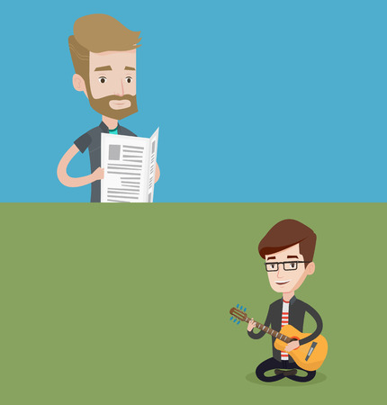 Two media banners with space for text. Vector flat design. Horizontal layout. Hipster man reading the newspaper. Young smiling man reading good news in newspaper. Man standing with newspaper in hands. Illustration