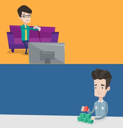 playing video game: Two media banners with space for text. Vector flat design. Horizontal layout. Gamer sitting on sofa and playing video game on television. Man with gaming console in hands playing video game at home.