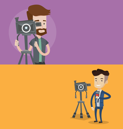 Two media banners with space for text. Vector flat design. Horizontal layout. Cheerful reporter with microphone standing near camera. TV reporter presenting the news. TV transmission with a reporter. Illustration