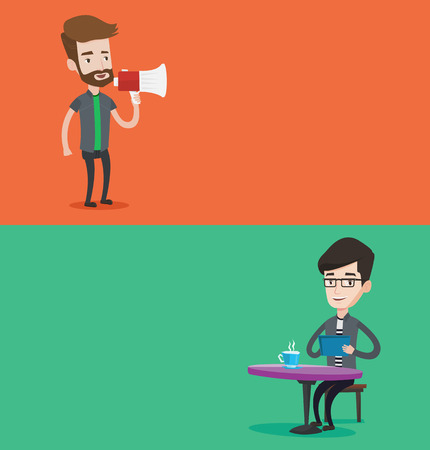 promoter: Two media banners with space for text. Vector flat design. Horizontal layout. Hipster man with beard holding megaphone. Man promoter speaking into a megaphone. Young man advertising using megaphone.
