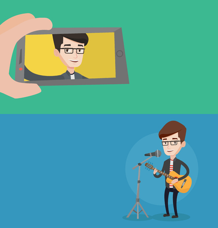 Two media banners with space for text. Vector flat design. Horizontal layout. Young joyful caucasian man making selfie. Smiling man taking selfie using his smartphone. Man playing guitar and singing.