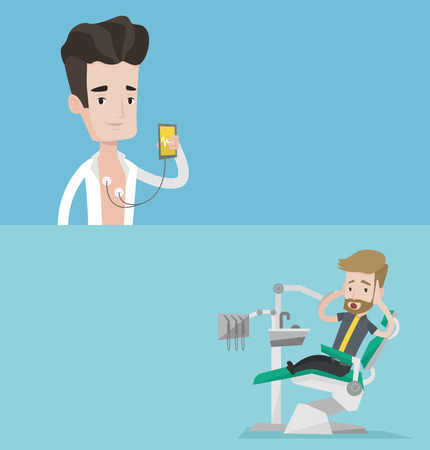 Two medical banners with space for text. Vector flat design. Horizontal layout. Man checking his blood pressure with smartphone application. Man measuring heart rate pulse with smartphone application.