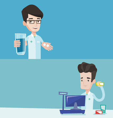 Two medical banners with space for text. Vector flat design. Horizontal layout. Pharmacist holding glass of water and pills. Pharmacist in medical gown giving pills. Pharmacist showing box of pills.