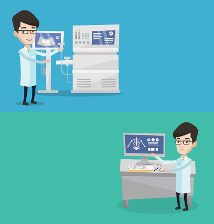 radiograph: Two medical banners with space for text. Vector flat design. Horizontal layout. Operator of ultrasound scanning machine with ultrasound scanner in hand. Doctor working on modern ultrasound equipment.