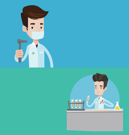 medical assistant: Two medical banners with space for text. Vector flat design. Horizontal layout. Laboratory assistant working with a test tube and taking some notes. Laboratory assistant analyzing liquid in test tube. Illustration