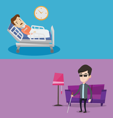 cane collar: Two medical banners with space for text. Vector flat design. Horizontal layout. Man wearing cervical collar and suffering from neck pain. Patient with injured neck lying in bed. Man with neck brace. Illustration