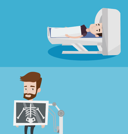 Two medical banners with space for text. Vector flat design. Horizontal layout. Caucasian man undergoes a magnetic resonance imaging scan test. Magnetic resonance imaging machine scanning patient.