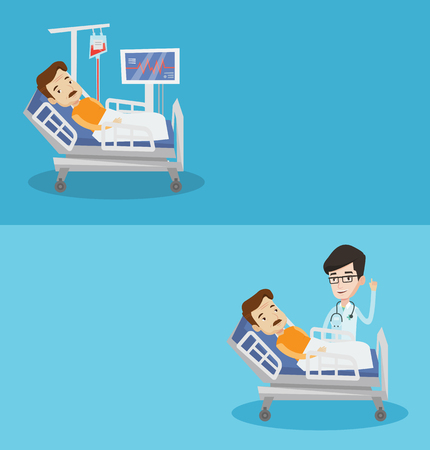 finger up: Two medical banners with space for text. Vector flat design. Horizontal layout. Doctor with finger up visiting patient lying in hospital bed. Patient lying in hospital bed with heart rate monitor.