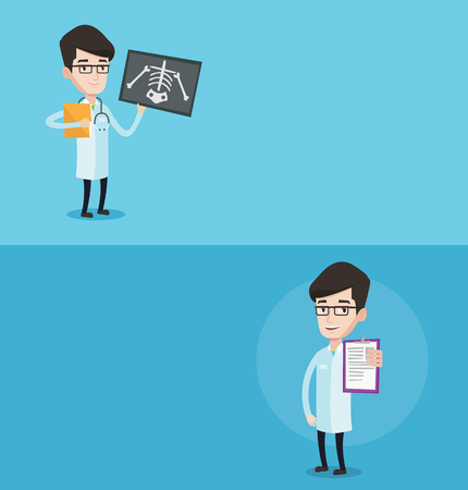 radiogram: Two medical banners with space for text. Vector flat design. Horizontal layout. Doctor examining a radiograph. Young doctor looking at a chest radiograph. Doctor observing a skeleton radiograph. Illustration