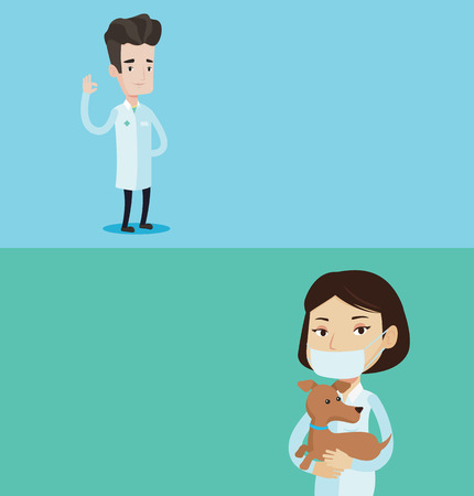 Two medical banners with space for text. Vector flat design. Horizontal layout. Doctor in medical gown showing ok sign. Smiling doctor gesturing ok sign. Young caucasian doctor with ok sign gesture. Illustration