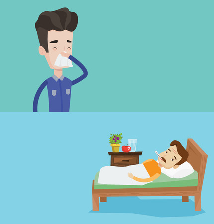 Two medical banners with space for text. Vector flat design. Horizontal layout. Sick sick man with fever laying in bed. Sad sick man measuring temperature. Sick man suffering from cold or flu virus.