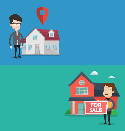 house for sale: Two real estate banners with space for text. Vector flat design. Horizontal layout. Realtor offering the house. Realtor with placard for sale and documents in hands standing on the background of house Illustration