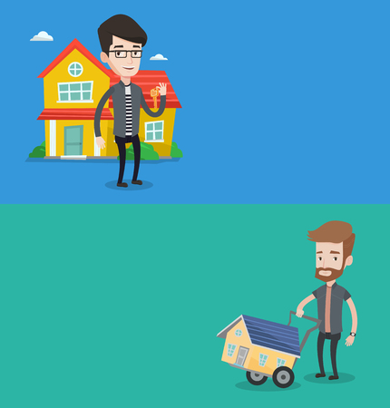 apartment for rent: Two real estate banners with space for text. Vector flat design. Horizontal layout. House owner holding house key. House owner with key standing on the background of house. Happy new owner of a house.