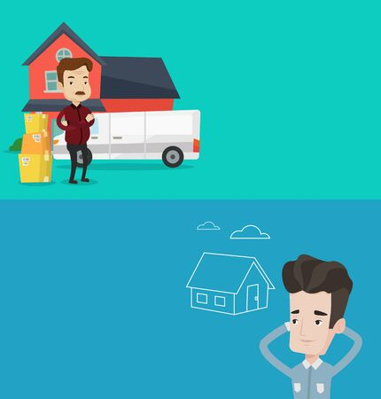 Two real estate banners with space for text. Vector flat design. Horizontal layout. Man dreaming about future life in a new house. Man planning purchase of house. Man dreaming about buying a house.