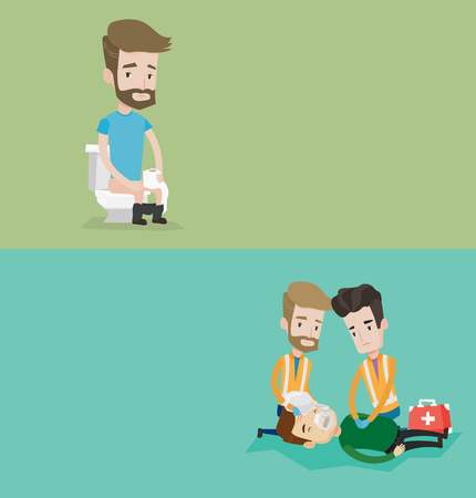 Two medical banners with space for text. Vector flat design. Horizontal layout. Team of paramedics during process of resuscitation of man. Paramedics doing cardiopulmonary resuscitation of a man. Illustration