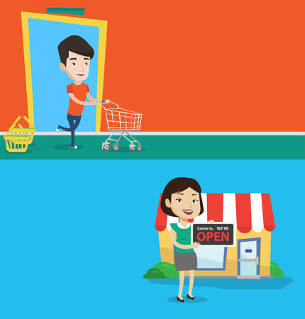 Two shopping banners with space for text. Vector flat design. Horizontal layout. Shop owner holding open signboard. Female shop owner standing in front of small store and inviting to come in her shop.