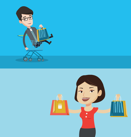 Two shopping banners with space for text. Vector flat design. Horizontal layout. Young carefree customer having fun while riding by shopping trolley. Man with shopping bags sitting in shopping trolley