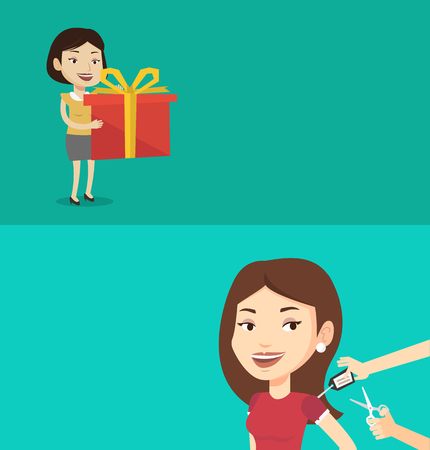 Two shopping banners with space for text. Vector flat design. Horizontal layout. caucasian woman holding a box with gifts in hands. Happy woman holding gift box. Young woman standing with gift box.