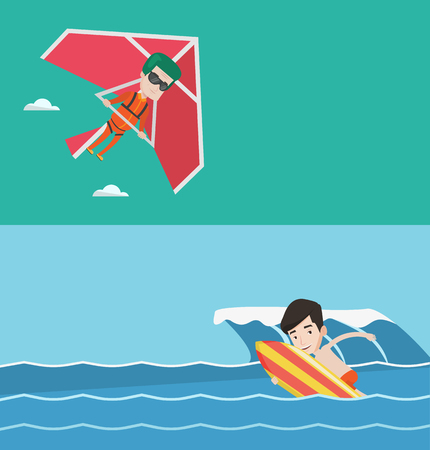 deltaplane: Two sport banners with space for text. Vector flat design. Horizontal layout. Man flying on hang-glider. Man taking part in hang gliding competitions. Man having fun while gliding on delta-plane. Illustration
